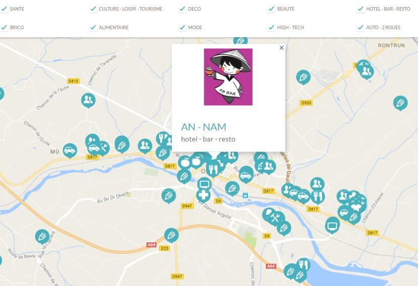 carte des commerces à Orthez et ses alentours programme fidélité Adelya