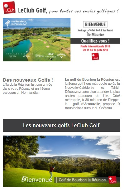 newsletter le clubgolf