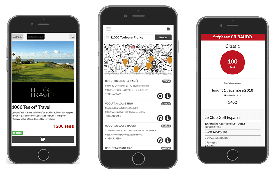 Application mobile du Club Golf