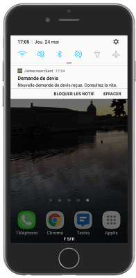 Notification push reçue par le client sur son mobile