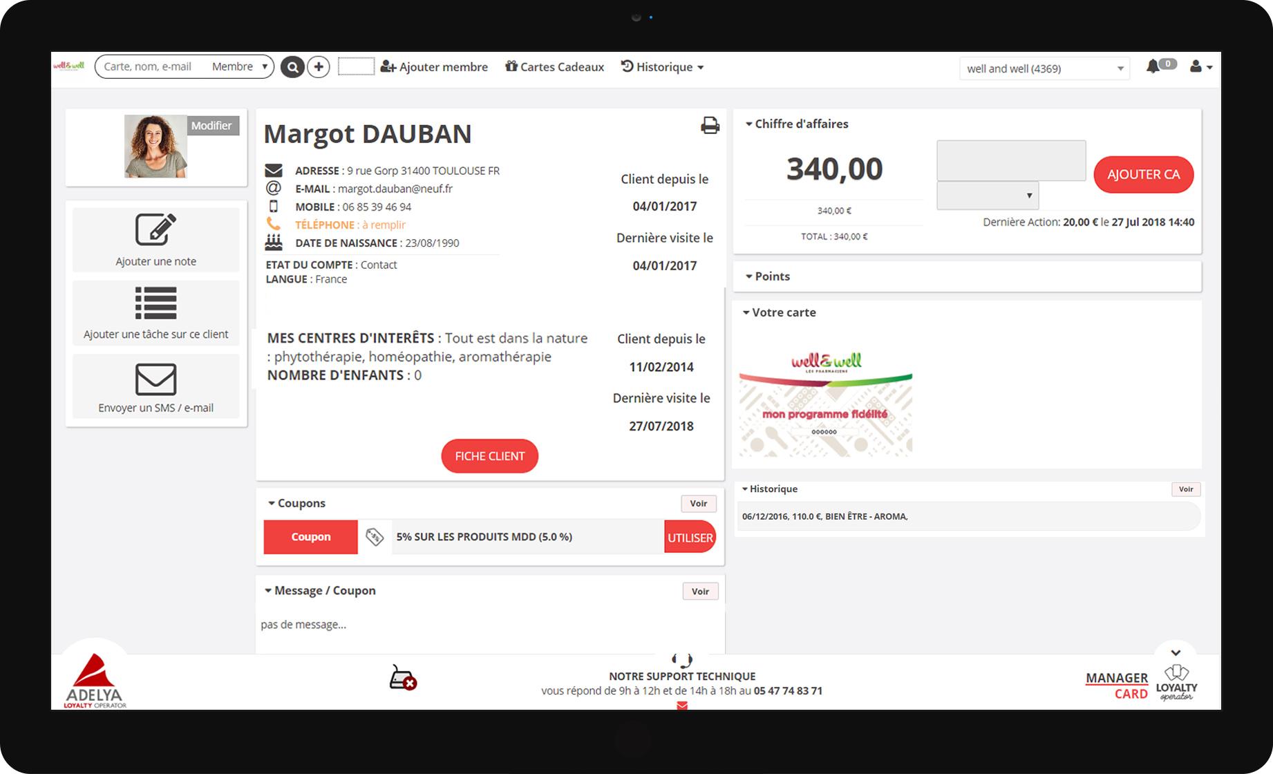 L'interface de clienteling pour les pharmacies permet un accueil personnalisé du client