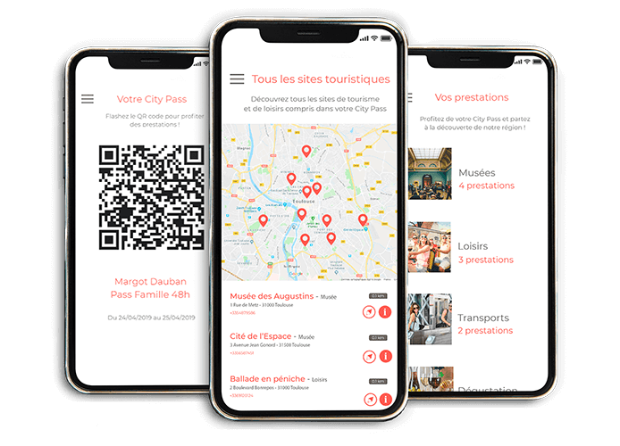 Application mobile du City Pass destiné aux visiteurs